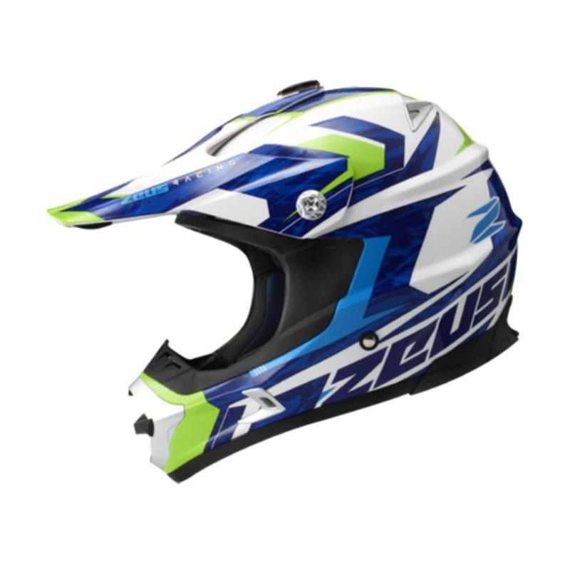Zeus ZS-951 Motocross Grafik Helm Full Face - Putih RR12 Hijau