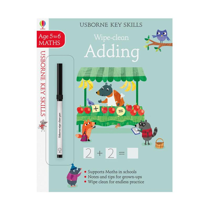 Genius Usborne Key Skills Wipe-clean Adding Ages 5 to 6 MATHS Buku Anak