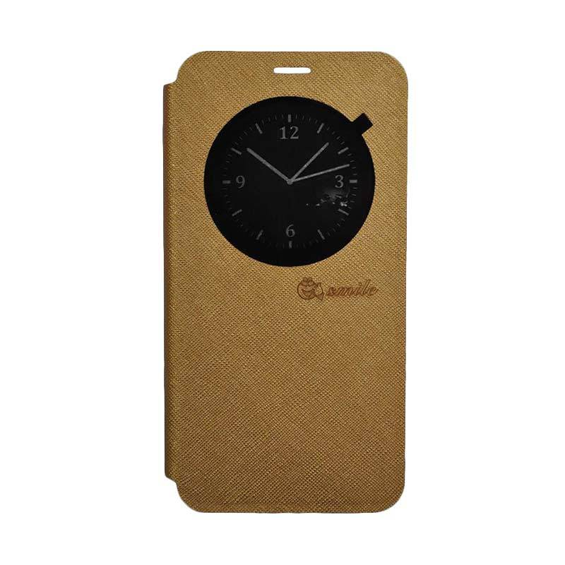 SMILE Leather Standing Flip Cover Casing for LG K8 - Gold