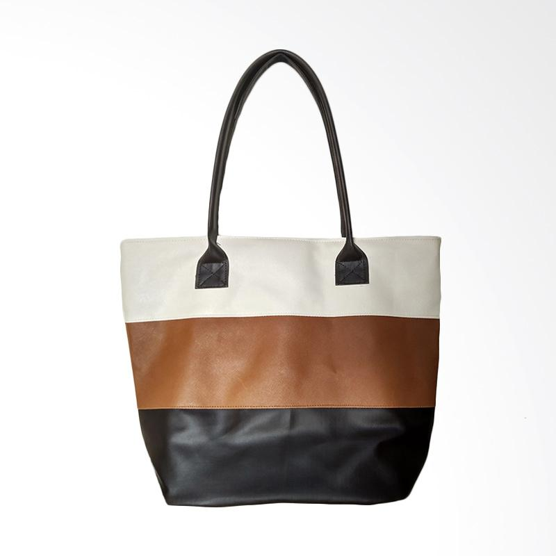 Donker Tricolor Strap Tote Bag - Coffee