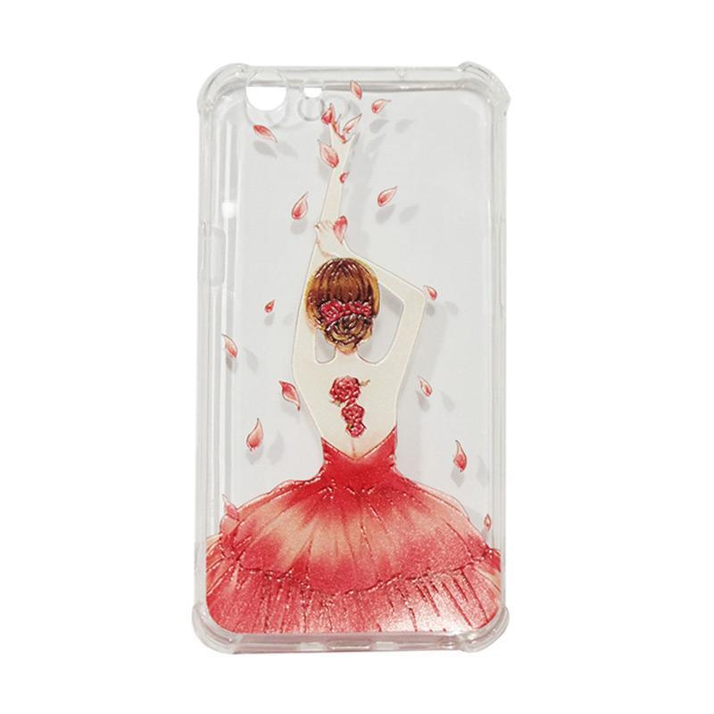QCF Softcase Anti Crack Anti Shock Silicone Case Gambar Wanita Gaun Merah + FREE Bumper Karet Animasi Random for Oppo F1S Selfie Expert / A59