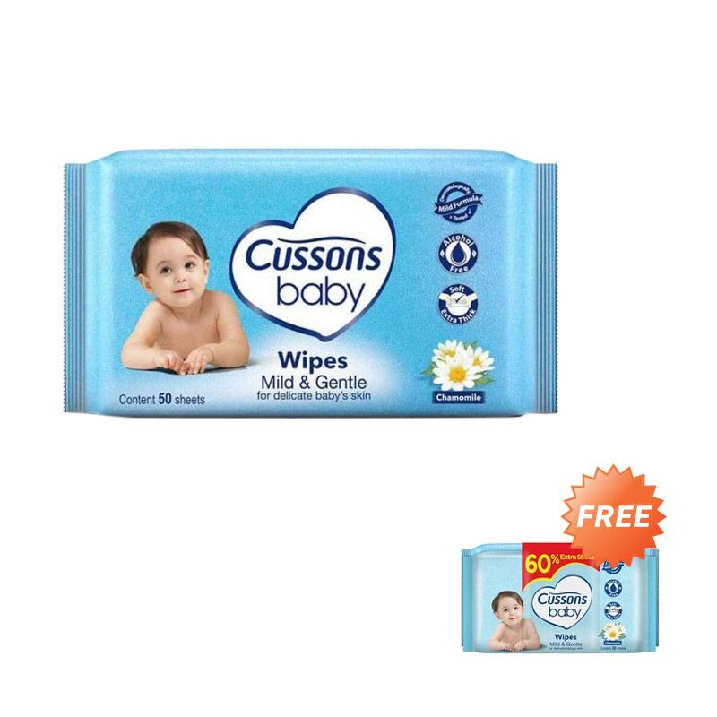 Cussons Baby Wipes Mild & Gentle Tissue Basah [50 Sheet] + Free 30 Sheet