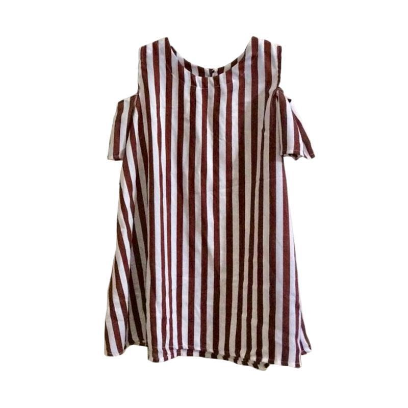 Kirana Kids Wear Selena Dress Anak - Brown Stripe