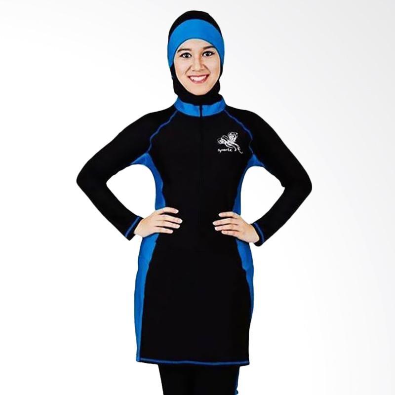 SPORTE Baju Renang Wanita Muslimah - Hitam Biru [SP 03]