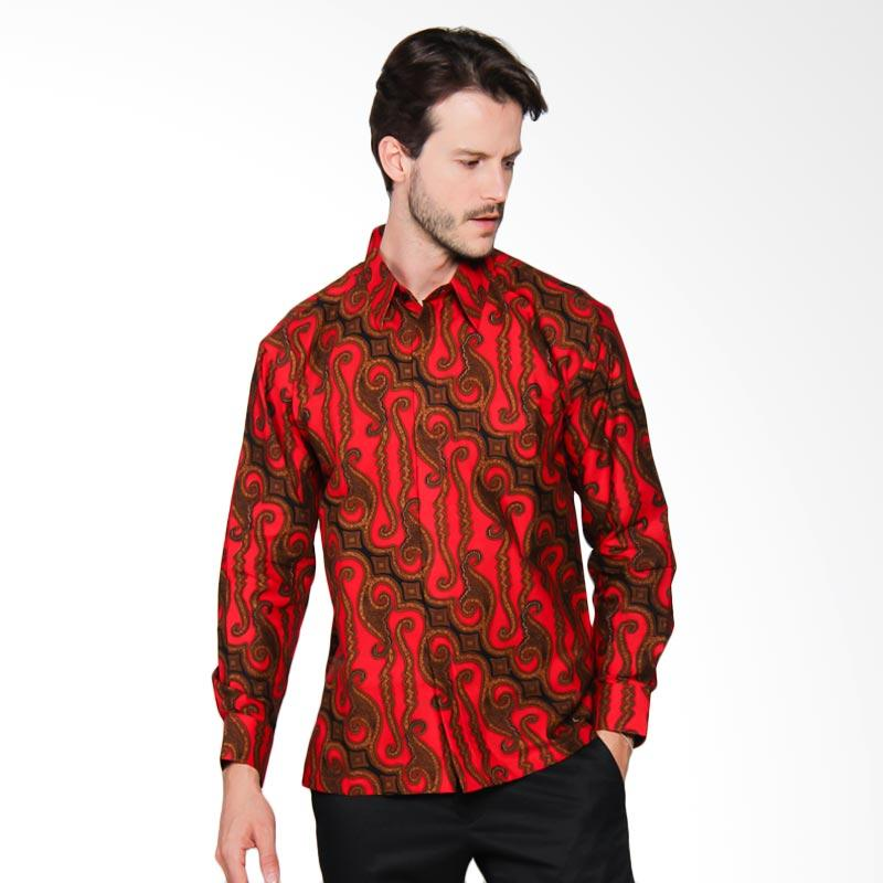 AWANA Parang Kitiran Modern Slim Fit Kemeja Batik Pria - Merah