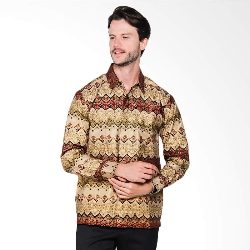 AWANA Modern Slim Fit Awana Parang Samudra Kemeja Batik Pria - Emas