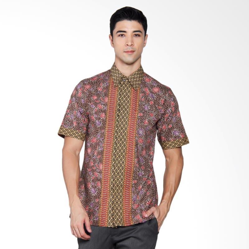 Batik Heritage Katun Premium Bunga Kawung Kecil Slim Fit Kemeja Pria Lengan Pendek - Merah