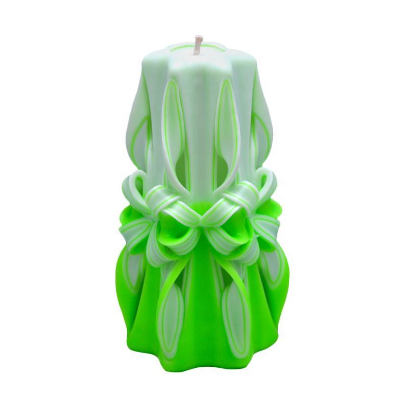 Indische Candle House Neon Green Lilin Ukir [8 Inch] Handmade dan Organik Wax