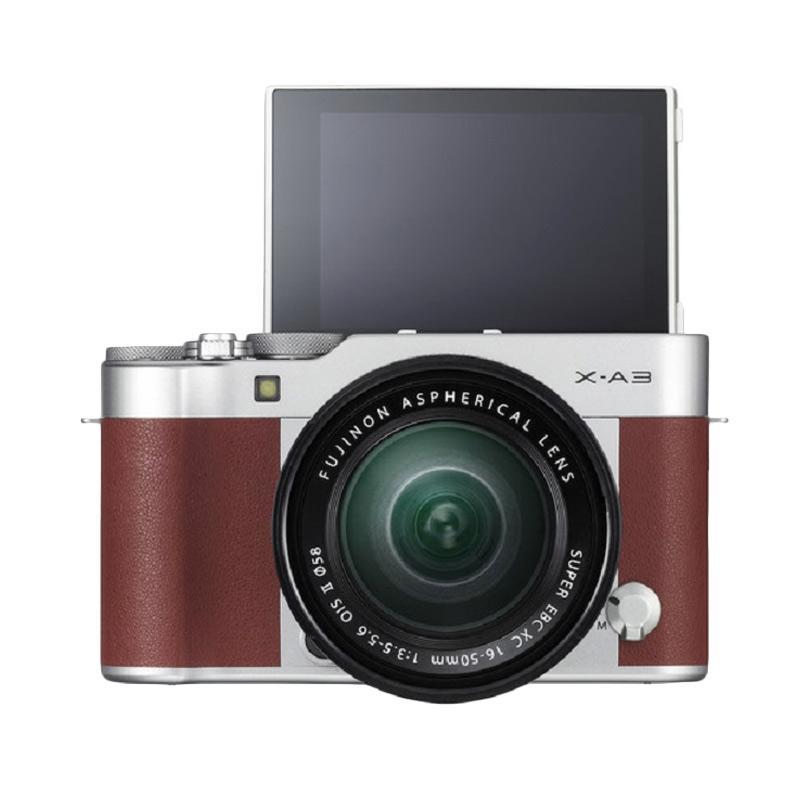 harga Fujifilm X-A3 Mirrorless Digital Camera Kit 16-50mm f 3.5-5.6 OIS II - Brown + Fuji Instax Mini 8 + SDHC Blibli.com