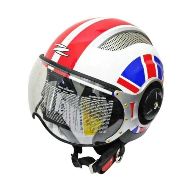 Zeus ZS-218 Retro Iron Head Grafik Helm Half Face - Putih Merah