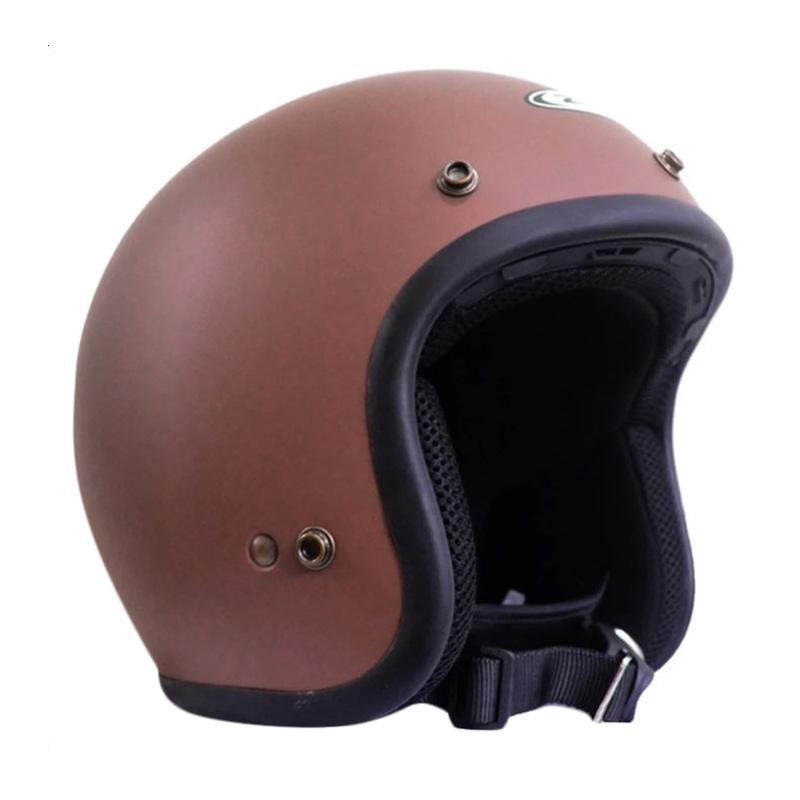 Zeus Retro ZS-385C Polos Helm Half Face - Coklat Dope