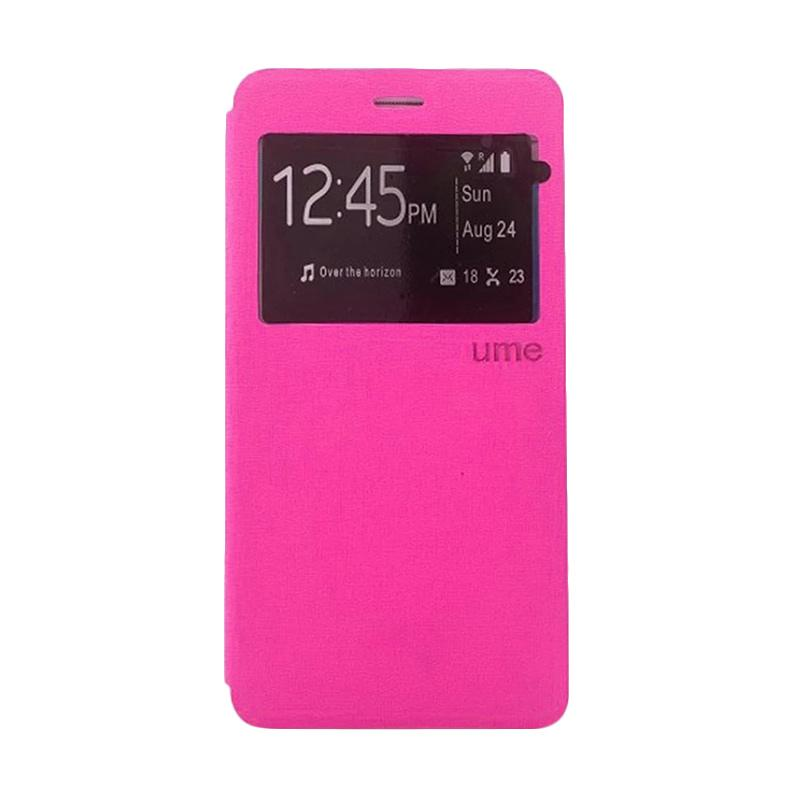 Ume Flip Case Flip Cover Window Casing for Andromax E2 Plus - Pink
