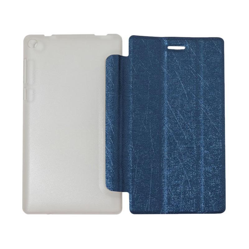 QCF Flip Cover Lenovo Tab 3 7.0 Inch TB3-730F Leather Case Dompet Lenovo Tab3 730F - Biru Tua