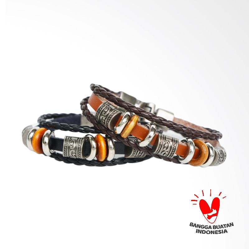 Arrazi Craft Model Sekat Cincin Couple Kulit Gelang - Hitam