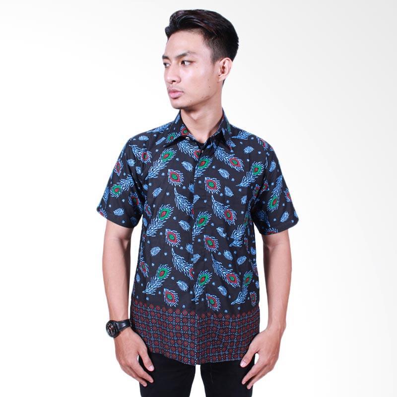 Batik Putri Ayu Solo Katun Kemeja Batik Pria - Hitam [KPD504]