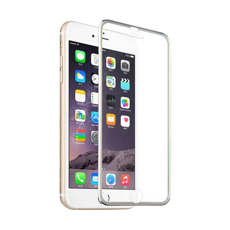 QCF Tempered Glass Ring Besi Aluminium Screen Protector for Apple iPhone 6 Plus / iPhone 6Plus / Iphone 6+ Ukuran 5.5 Inch Pelindung Layar - Silver