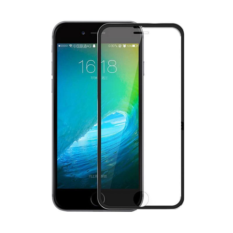 QCF Tempered Glass Ring Besi Aluminium Screen Protector for Apple iPhone 7 / iPhone7 / Iphone 7G Ukuran 4.7 Inch Pelindung Layar - Hitam