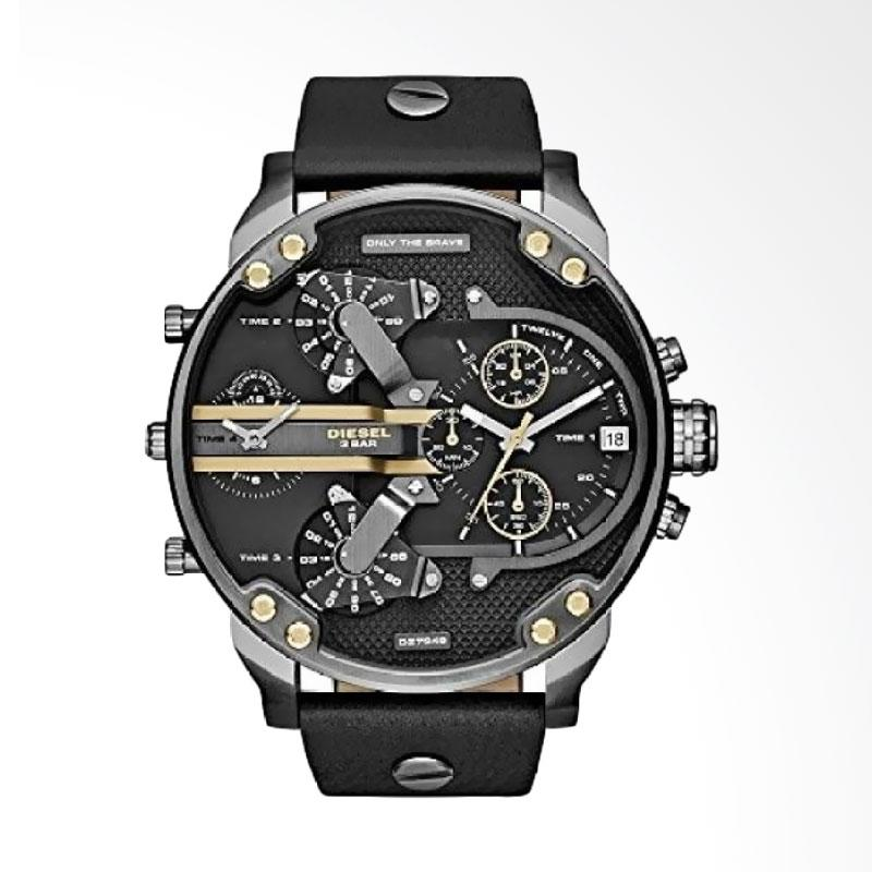 Diesel Men Metal Leather Jam Tangan - Black [ DZ7348]