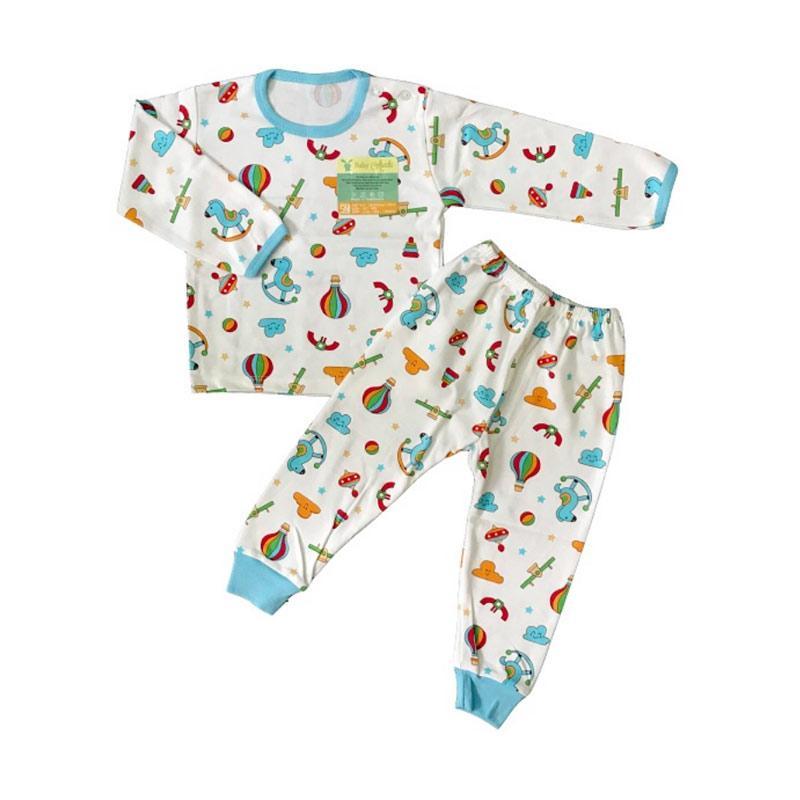 Aruchi Motif Playground Oblong Panjang Setelan Baju Tidur Bayi - Biru