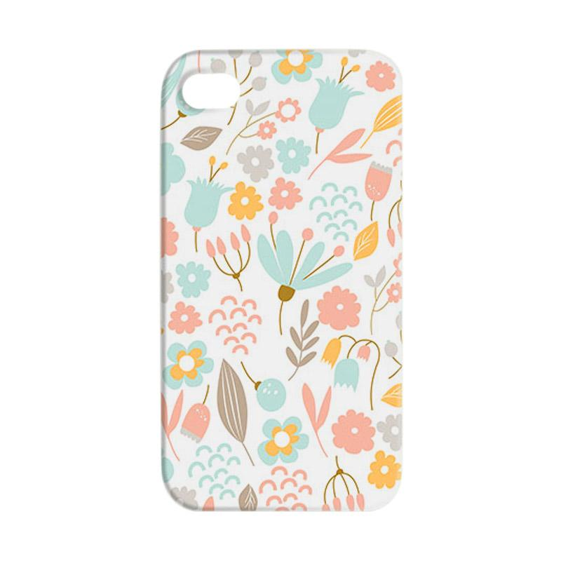 Premiumcaseid Cute Pastel Shabby Chic Floral Hardcase Casing for iPhone 4 or 4s