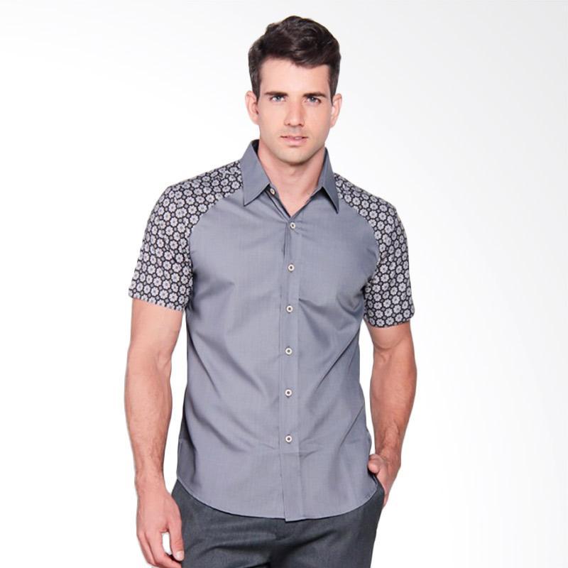 Batik Heritage Combination Reglan Slim Fit Kemeja Pria - Grey