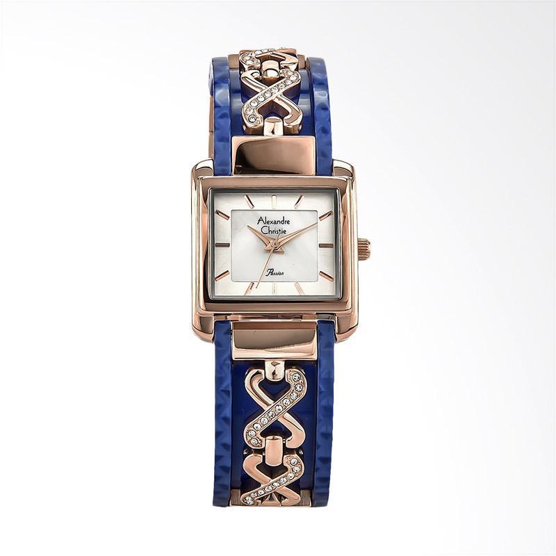Alexandre Christie AC 2611 LH BRGMSBU Ladies Jam Tangan Wanita - Silver Blue Rose Gold