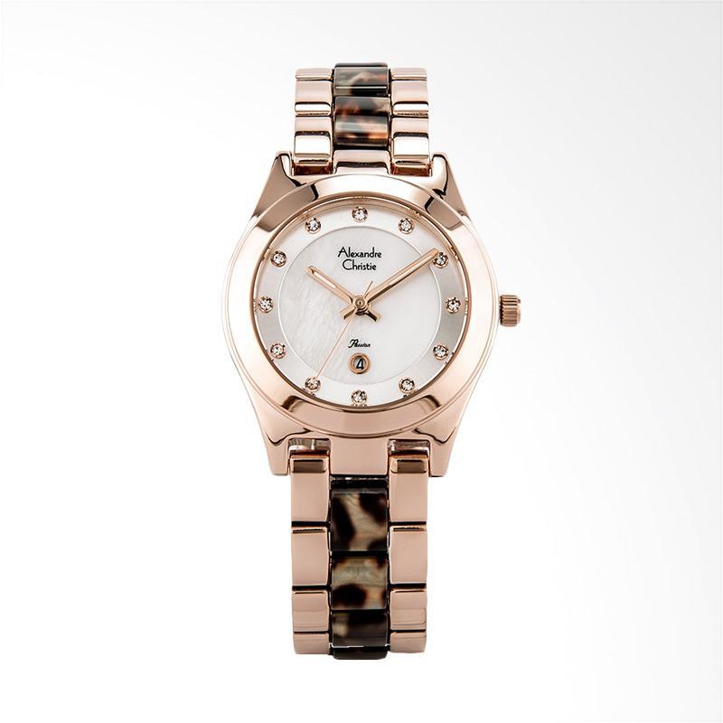 Alexandre Christie AC 2477 LD BRGMSBO Ladies Silver Dial Dual-tone Jam Tangan Wanita - Rose Gold