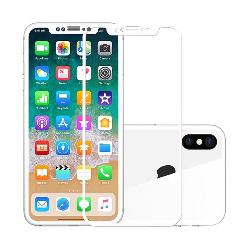 3T Tempered Glass Screen Protector for iPhone X - White [Full Cover]