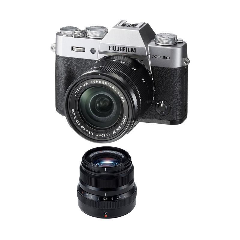 harga Fujifilm X-T20 16-50mm Kamera Mirrorless - Silver + XF 35mm f 2 - Black + Fuji Instax Share SP2 Blibli.com