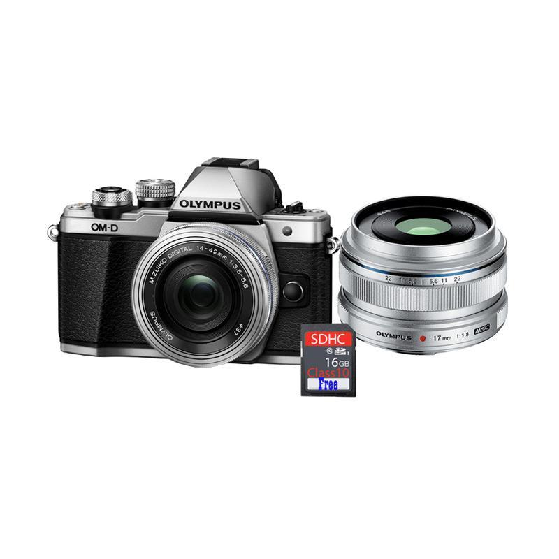 harga Olympus OMD EM10 MARK II KIT 14-42mm EZ + Lens 17mm f1.8 Kamera Mirrorless + Free SDHC 16GB - Silver Blibli.com