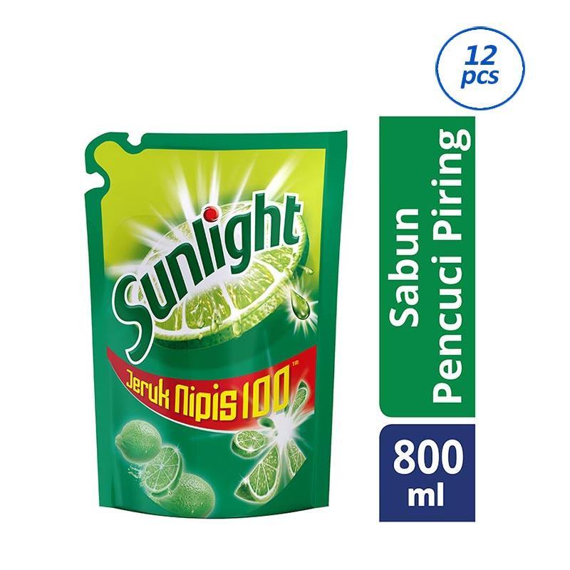 SUNLIGHT Lime Pouch Cairan Pencuci Piring [800 mL/12 pcs] 21075851