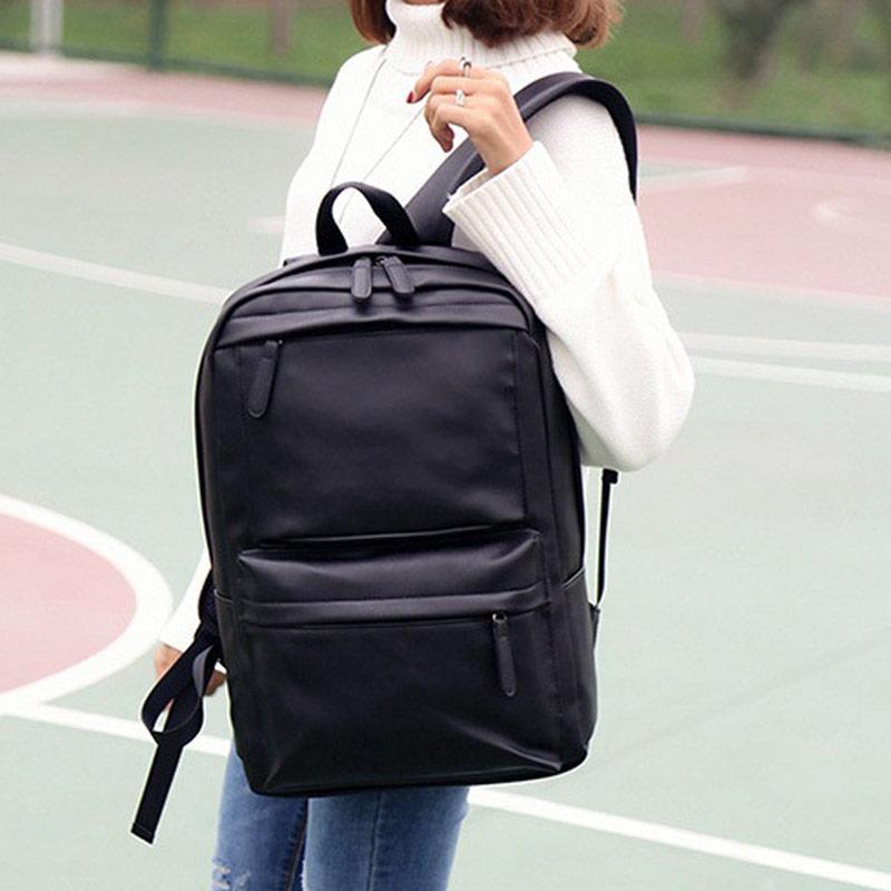 7a74e5dced45 Jual Lansdeal Men s Women s Leather Backpack Laptop Satchel Travel School  Rucksack Bag - Black Online - Harga   Kualitas Terjamin