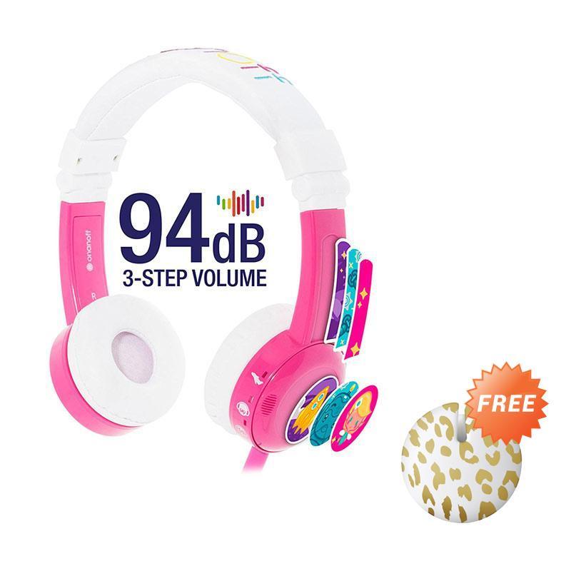 harga BuddyPhones in Flight Headphone - Pink + Free Cable Management Leopard Blibli.com
