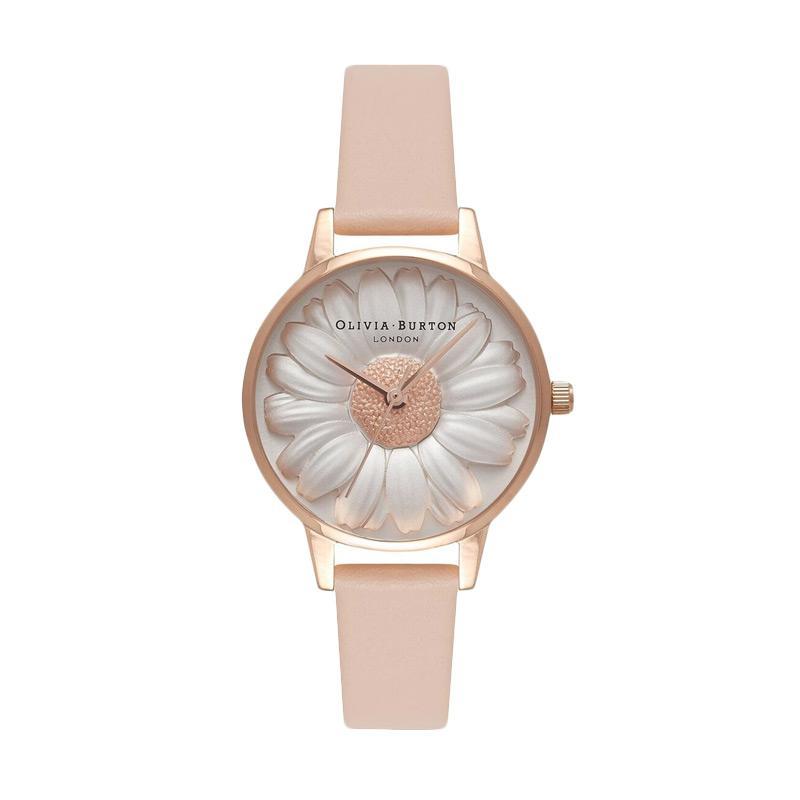 Olivia Burton 3D Daisy Nude Peach Rose Gold Watch Jam Tangan Wanita