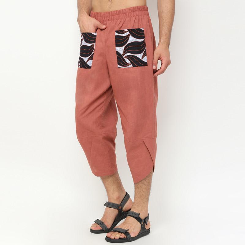 ONII SAN Men s Harem Capri Linen Pants with Double Pocket