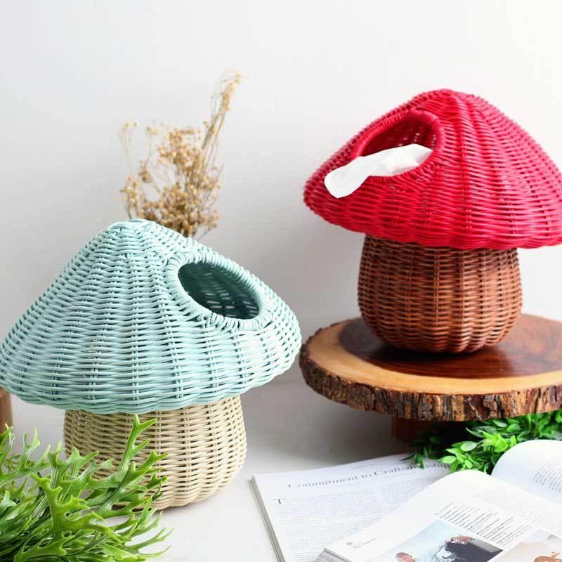 Rotan Craft Jamur Dekorasi Kotak