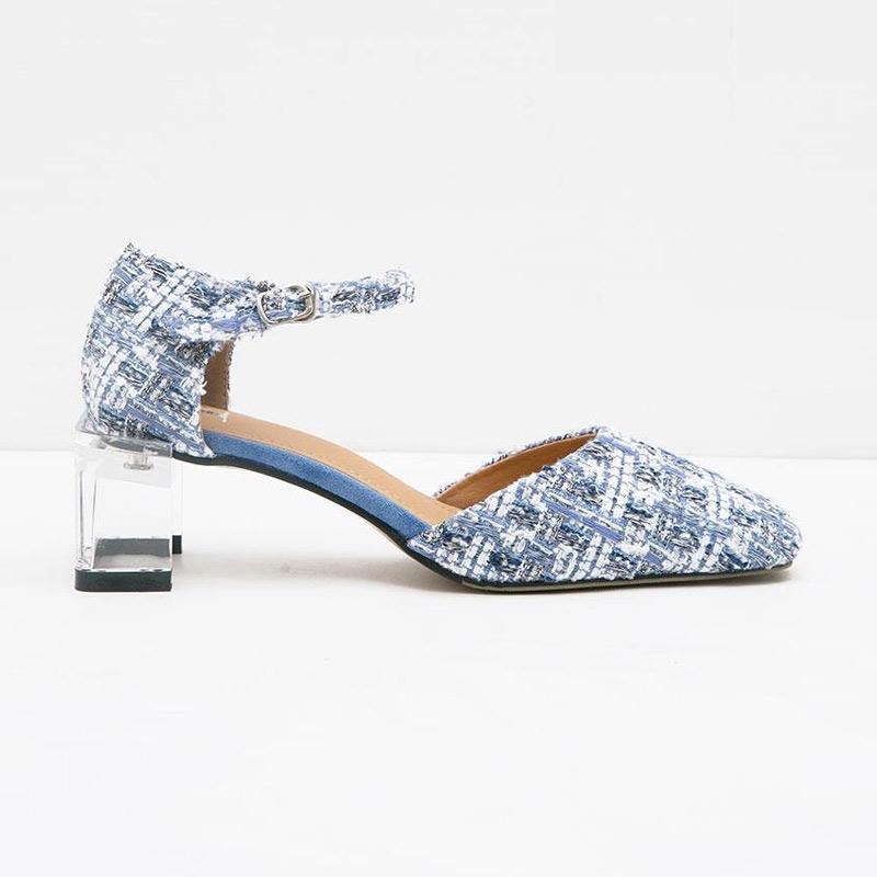 Berrybenka Michae Febitha Tweed Heels Blue