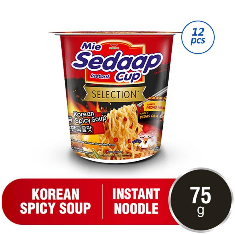 SEDAAP Korean Spicy Soup Cup Mie Instant 12 pcs x 75 g
