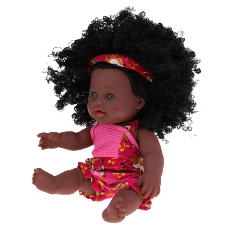 12/'/' Cute Lifelike Vinyl Baby Newborn Girl Baby Doll With Afro Curly Hair