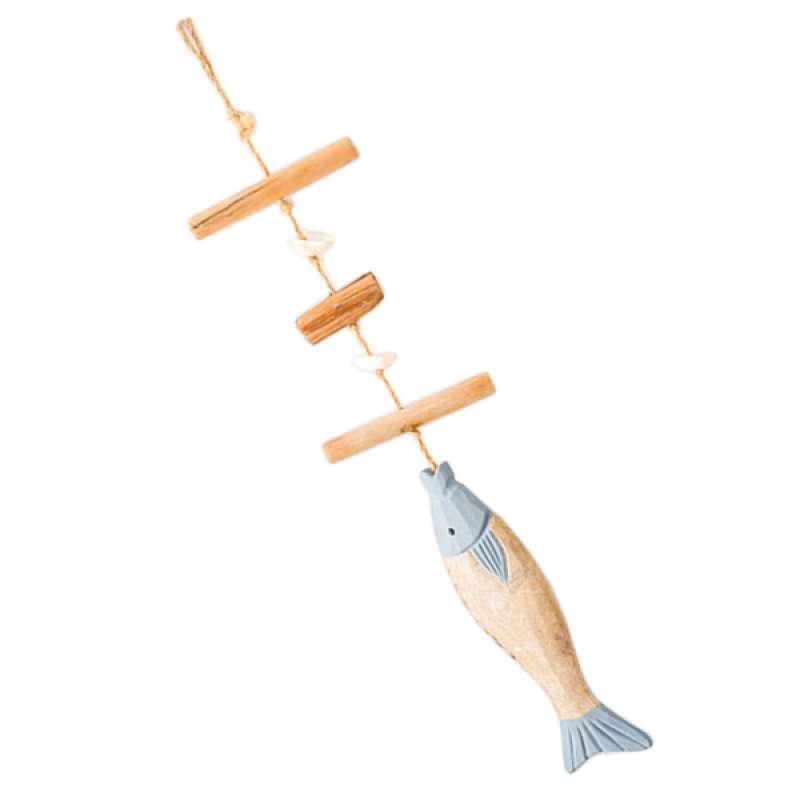 White Beige Fish Shape Wood Wall Decoration Hanging Decoration Decor Blue