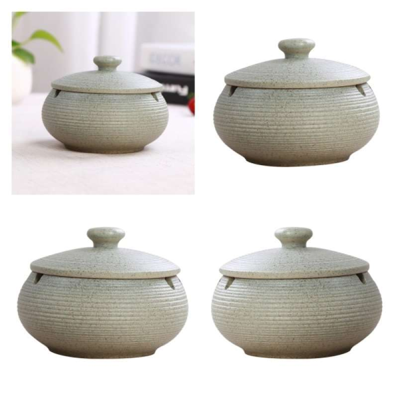 2pcs Nordic Style Ashtray Ceramics Ashtray with Lid for Indoor and Outdoor Use