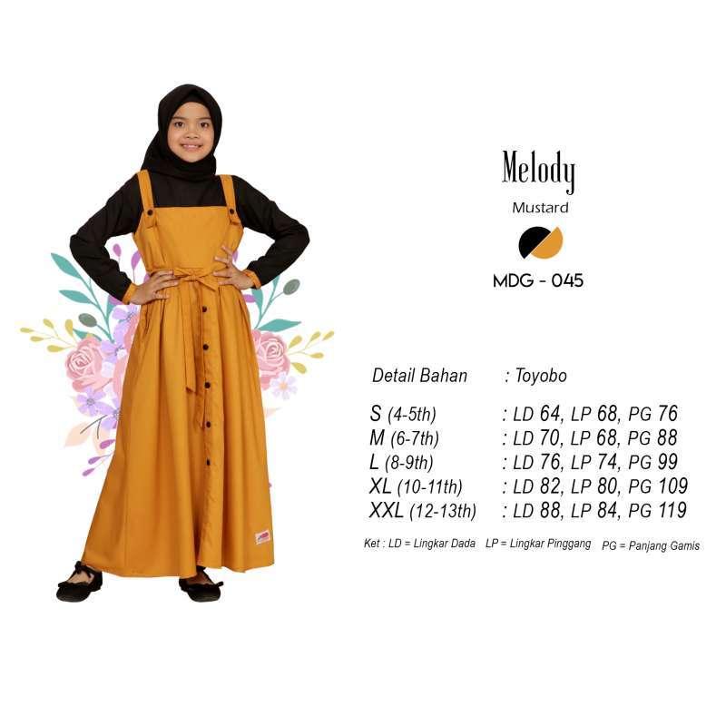 Jual Baju Gamis Anak Perempuan Melody Usia 4 12 Tahun Warna Mustard Online Maret 2021 Blibli