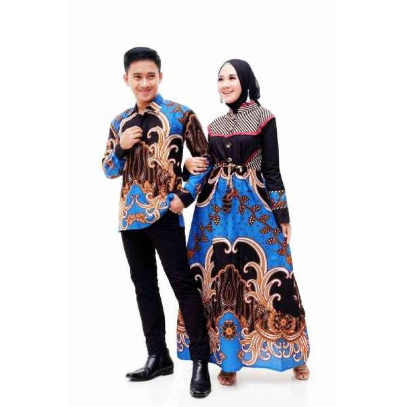 Jual Snoebel Mgh Akay Blue Ethnic Kombinasi Polos Sarimbit Batik Couple Gamis Modern Set Kemeja Online Maret 2021 Blibli