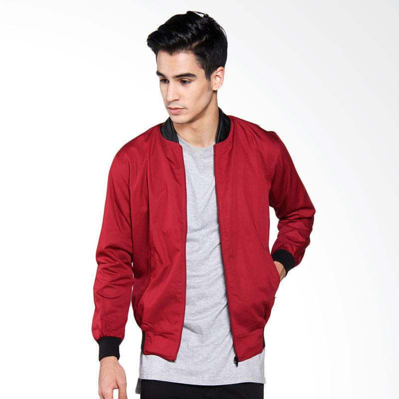 Bafash Drill Combine Leather Jaket Pria - Red