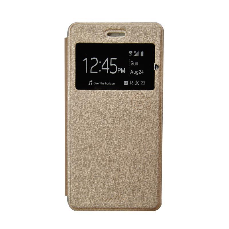 Smile Flip Cover Casing for Oppo F1S A59 - Gold