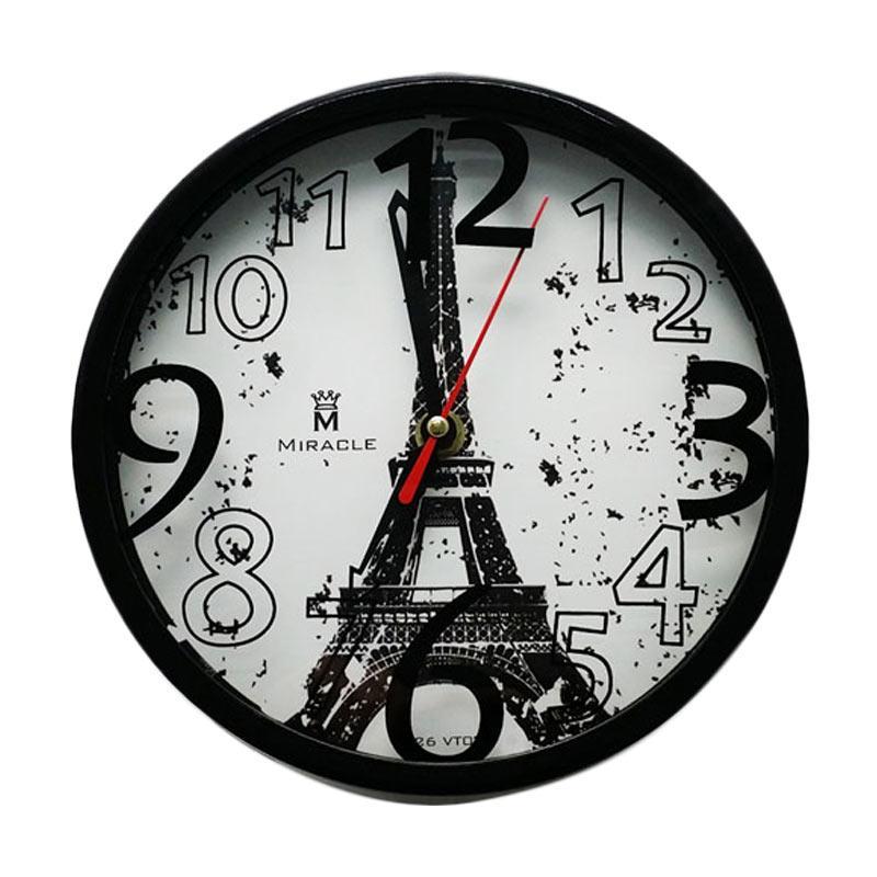 Miracle VT03 Vintage Paris Jam Dinding - Black