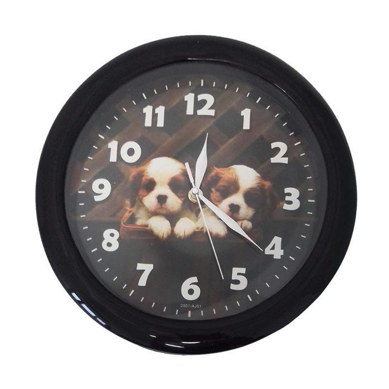 TJ Motif Anak Anjing aj 01 Jam dinding - Ring Hitam [29cm]
