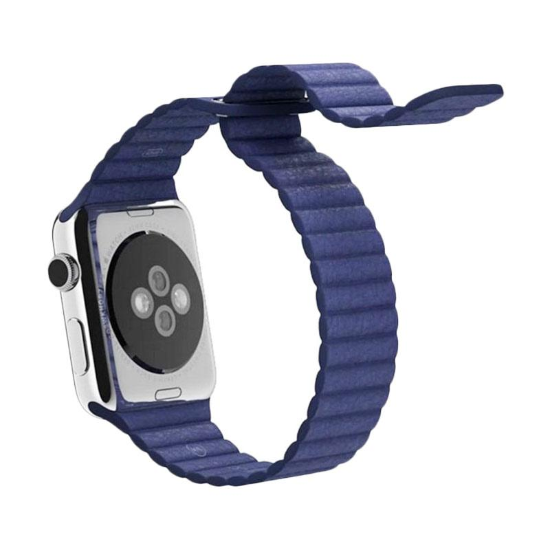 LOLLYPOP Strap Leather Loop Band for Apple Watch 42mm - Navy