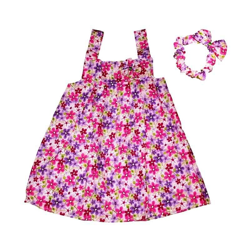 Pesona Sakura Flower Dress with Headband - Purple