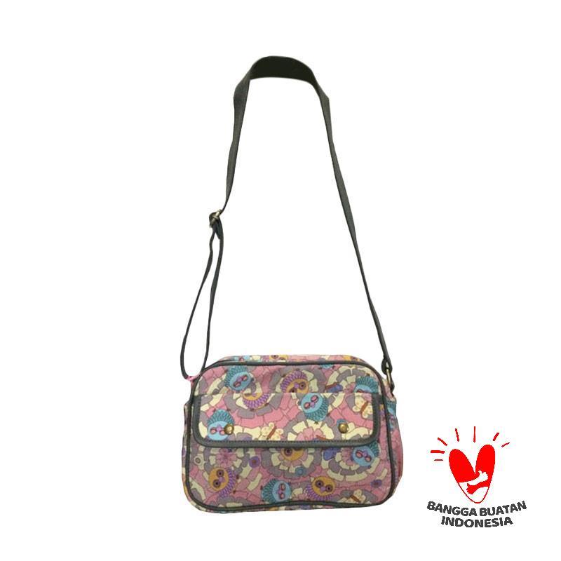 Dinary Owl Flowery Sling Bag - Pink Grey
